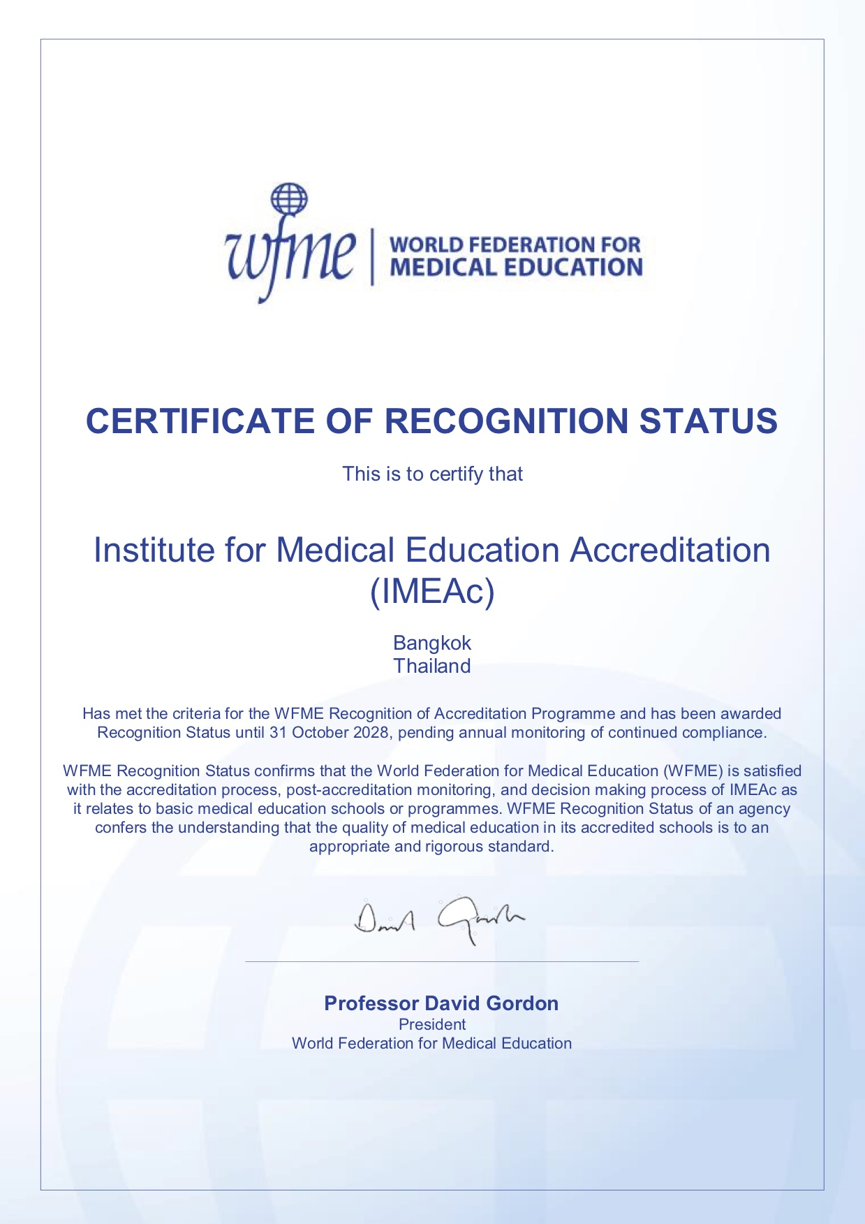 Certificate of recognition – IMEAc